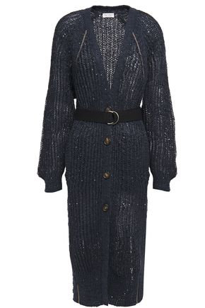 BRUNELLO CUCINELLI Embellished open-knit cardigan