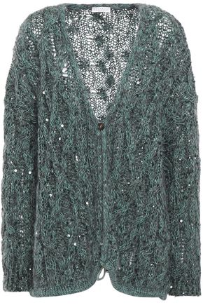 BRUNELLO CUCINELLI Sequin-embellished cable-knit cardigan
