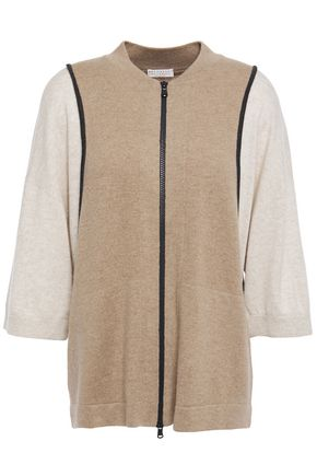 BRUNELLO CUCINELLI Two-tone cashmere cardigan