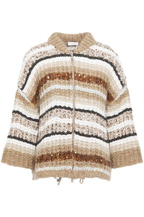 BRUNELLO CUCINELLI Sequin-embellished striped mohair-blend cardigan