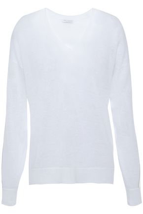 BRUNELLO CUCINELLI Satin-trimmed bead-embellished linen-blend sweater