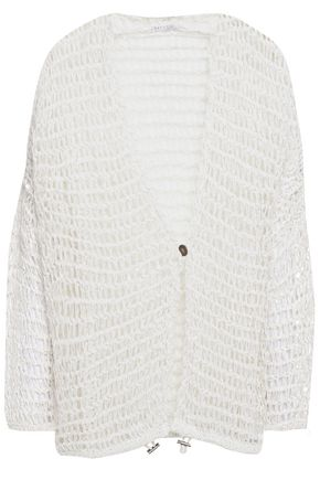BRUNELLO CUCINELLI Sequin-embellished open-knit cardigan