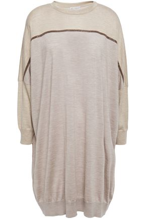 BRUNELLO CUCINELLI Oversized bead-embellished mélange cashmere and silk-blend sweater