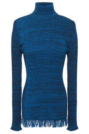 MARNI Frayed mélange ribbed cotton turtleneck sweater
