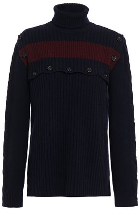 MARNI Button-detailed ribbed wool turtleneck sweater