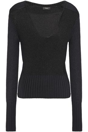 THEORY Metallic knitted sweater