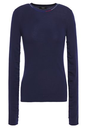 THEORY Ruched merino wool sweater