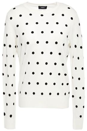 THEORY Polka-dot merino wool-blend sweater