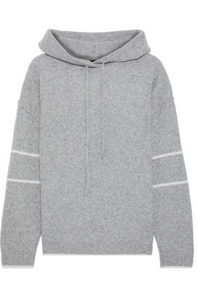 LINE Claudine striped marled merino wool-blend hoodie