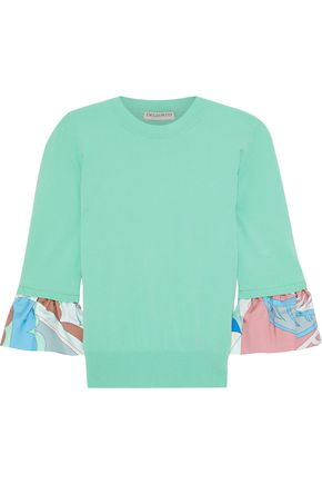 EMILIO PUCCI Printed twill-trimmed silk sweater