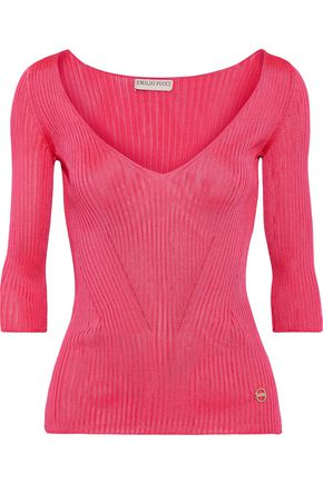 EMILIO PUCCI Pointelle-trimmed ribbed-knit top