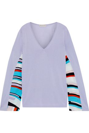 EMILIO PUCCI Printed crepe de chine-paneled cotton-blend sweater