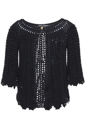 DOLCE & GABBANA Scalloped crochet-knit wool cardigan