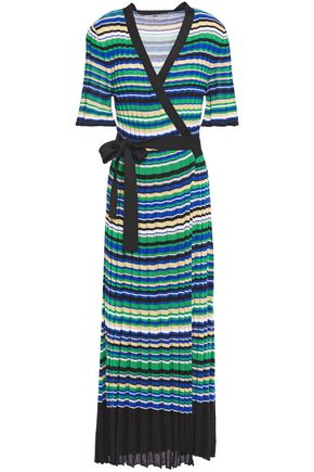 MAJE Metallic striped ribbed-knit midi wrap dress