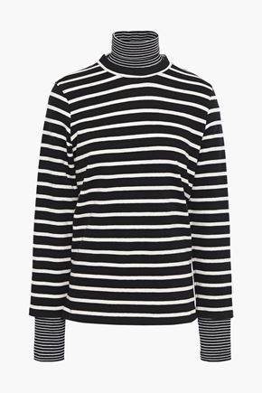 GOEN.J Layered striped cotton-jersey turtleneck top