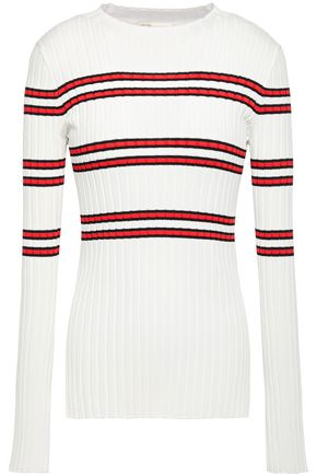MAJE Manuel striped ribbed-knit sweater