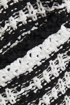 MAJE Two-tone crochet-knit cotton-blend cardigan