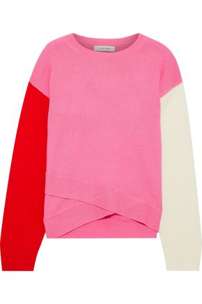 CHINTI & PARKER Layered color-block wool and cashmere-blend sweater