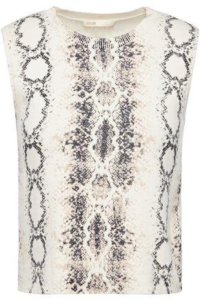 MAJE Snake-print stretch-knit top