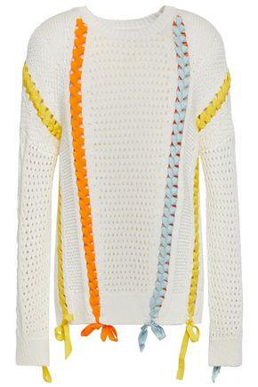 MAJE Lace-up open-knit sweater