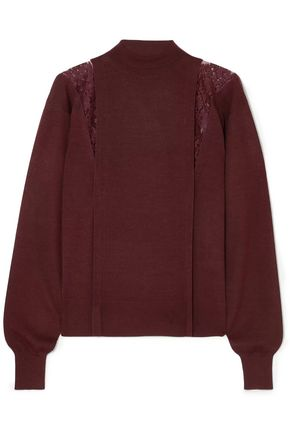 CHLOÉ Lace-paneled wool and silk-blend turtleneck sweater