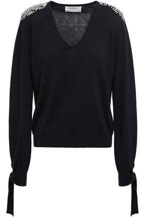 BA&SH Crystal-embellished cotton, silk and cashmere blend sweater
