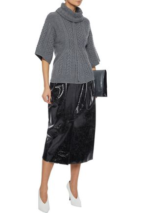 Stella Mccartney Cable-knit Wool And Alpaca-blend Turtleneck Sweater In Anthracite