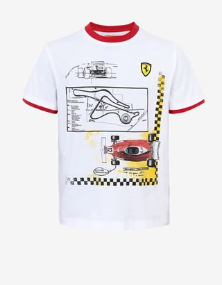 Scuderia Ferrari Online Store - Boys' T-shirt with Fiorano and 312 T print - Short Sleeve T-Shirts