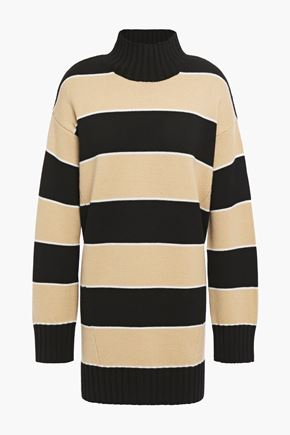 NINETY PERCENT Striped merino wool turtleneck sweater