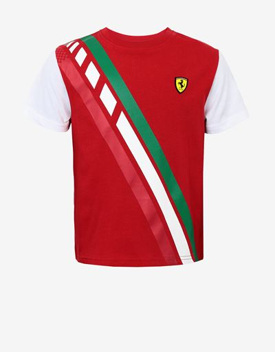 Boys' jersey T-shirt with Italian flag print