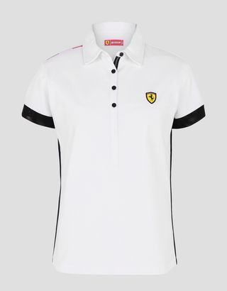 Scuderia Ferrari Online Store - Women's racing polo shirt with tricolour - Short Sleeve Polos