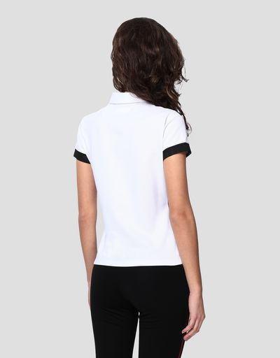 Women's racing polo shirt with tricolour