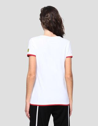 Scuderia Ferrari Online Store - Women's jersey T-shirt with rubberized print - Short Sleeve T-Shirts