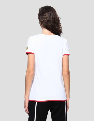 Women's jersey T-shirt with rubberized print