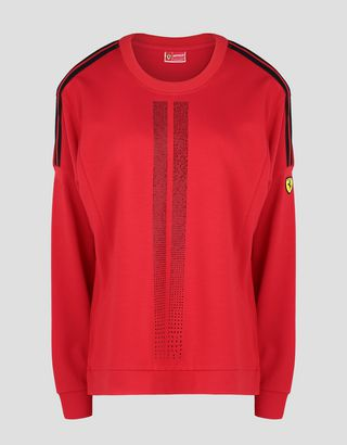 Scuderia Ferrari Online Store - Women's Racing shirt with rhinestones - Crew Neck Sweaters