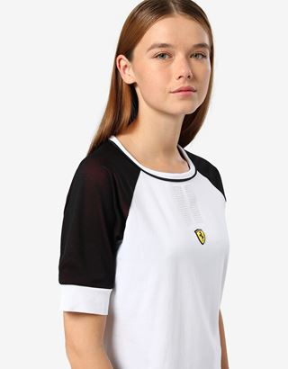 Scuderia Ferrari Online Store - Women's T-shirt with 3D mesh insert and rhinestones - Short Sleeve T-Shirts