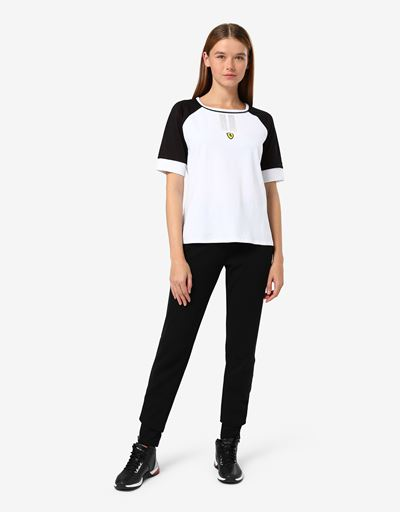 Women's T-shirt with 3D mesh insert and rhinestones