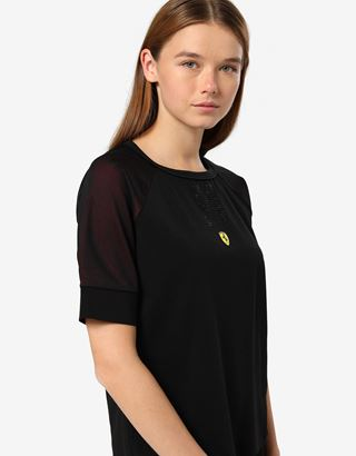 Scuderia Ferrari Online Store - T-Shirt für Damen mit Einsatz aus 3D-Mesh und Strass-Besatz - Kurzärmelige T-Shirts