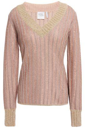 HERVÉ LÉGER Distressed metallic ribbed crochet-knit sweater