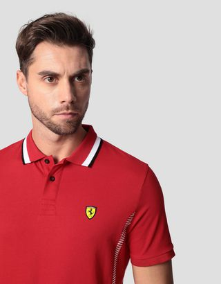Scuderia Ferrari Online Store - Men's polo shirt in cotton pique with mesh inserts - Short Sleeve Polos