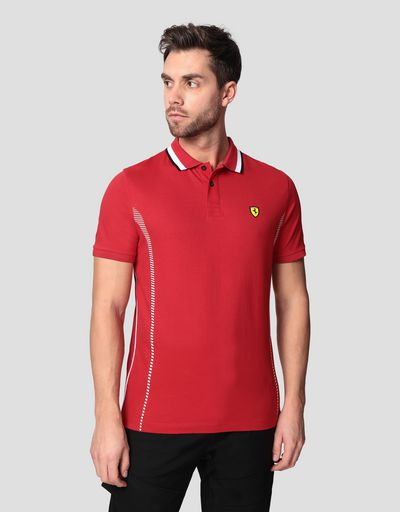 Men's polo shirt in cotton pique with mesh inserts