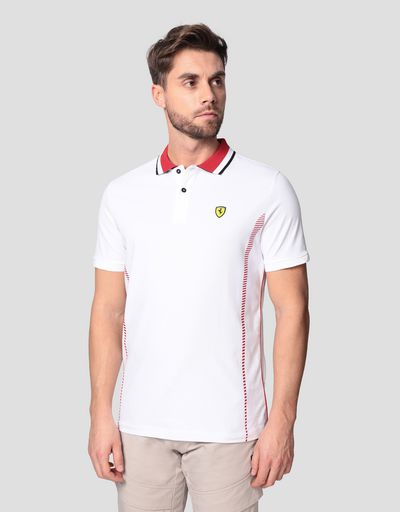 Men's cotton piqué polo shirt with mesh inserts