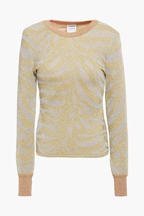 HERVÉ LÉGER Metallic zebra-print stretch-knit sweater