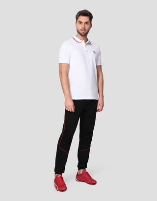 Scuderia Ferrari Online Store - Men's cotton pique polo shirt with Italian flag - Short Sleeve Polos