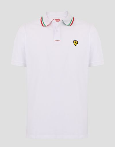 Scuderia Ferrari Online Store - Men's cotton piqué polo shirt with three-colour Italian flag - Short Sleeve Polos