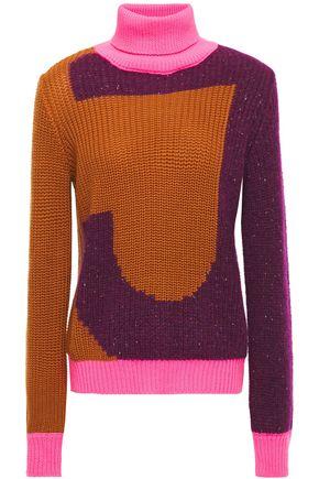 JUST CAVALLI Color-block intarsia-knit turtleneck sweater
