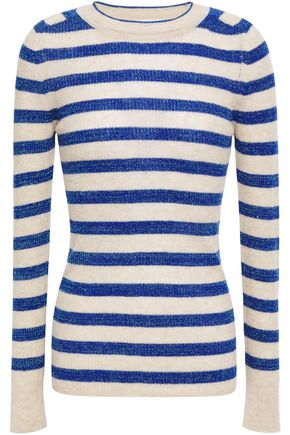 FORTE_FORTE Metallic striped ribbed cashmere-blend sweater