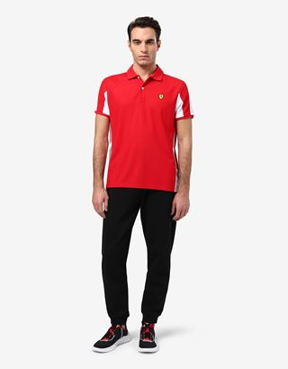 Scuderia Ferrari Online Store - Men's polo shirt in technical pique with contrasting inserts - Short Sleeve Polos