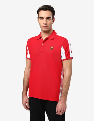 Scuderia Ferrari Online Store - Men's technical piqué polo shirt with contrasting inserts - Short Sleeve Polos