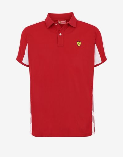 Men's polo shirt in technical pique with contrasting inserts